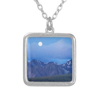 Sky Moonrise Over Alaskan Range Silver Plated Necklace