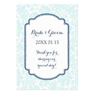 Sky Navy Blue Damask Wedding Favor Tags Pack Of Chubby Business Cards