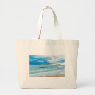 Sky Over Beach Art Large Tote Bag