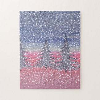 sky pink and snow jigsaw puzzle