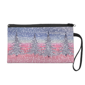 sky pink and snow wristlet