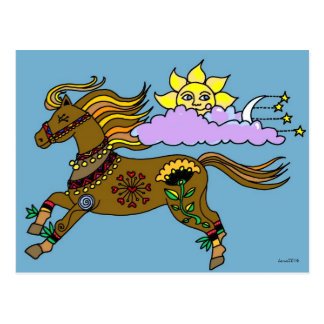 Sky Pony Ukrainian Folk Art Postcard