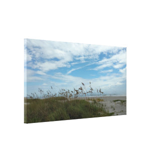 Sky Sand and Sea Grasses Stretched Canvas Print