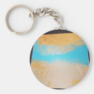 Sky, Sea Sand on Canvas Basic Round Button Keychain