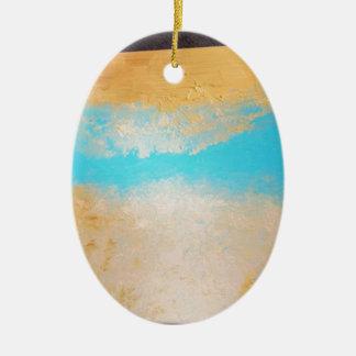 Sky, Sea Sand on Canvas Ceramic Oval Ornament