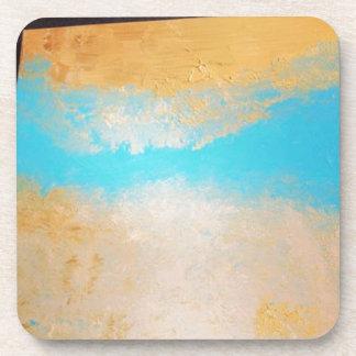 Sky, Sea Sand on Canvas Drink Coaster