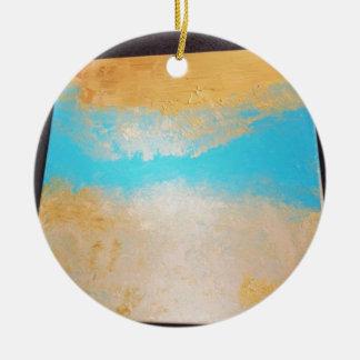 Sky, Sea Sand on Canvas Round Ceramic Ornament