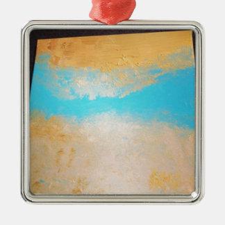 Sky, Sea Sand on Canvas Silver-Colored Square Ornament