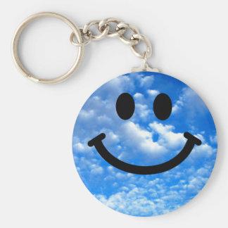 Sky Smiley Basic Round Button Keychain