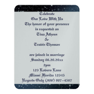 "Sky Stars Love Wedding Bride Groom Peace Destiny 4.25"" X 5.5"" Invitation Card"