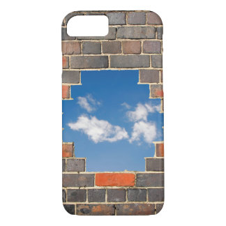 Sky through a hole in a brick wall iPhone 7 case