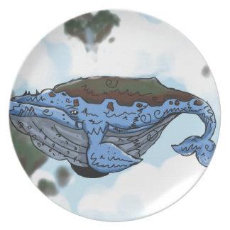 sky whale plate