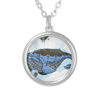 sky whale silver plated necklace
