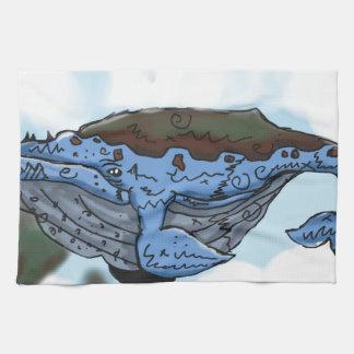 sky whale towel