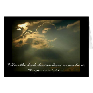 sky, When the Lord closes a door, somewhere He ... Card