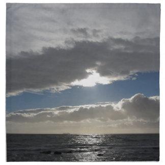 Sky with giants cumulonimbus clouds and sun rays napkin