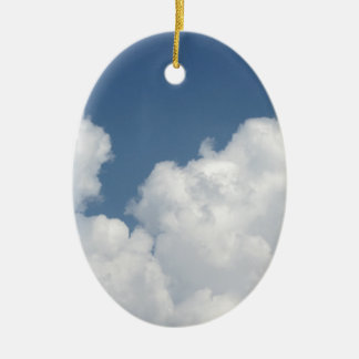 Sky with giants cumulonimbus clouds ceramic oval ornament