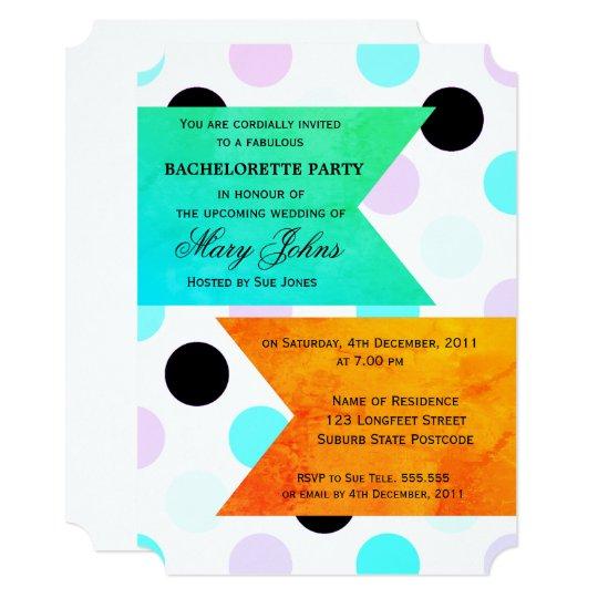 Skyblue Polka Dot  Bachelorette Party Invitation