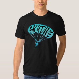 Skydive fanatic artistic blue teal guys tee