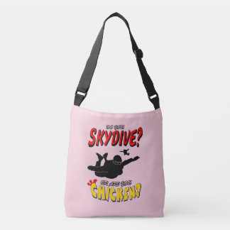 Skydive or Chicken? (blk) Crossbody Bag