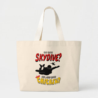 Skydive or Chicken? (blk) Large Tote Bag