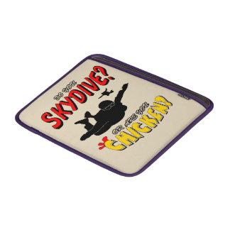 Skydive or Chicken? (blk) MacBook Sleeve