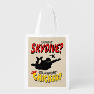 Skydive or Chicken? (blk) Reusable Grocery Bag