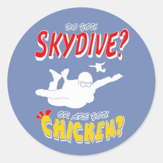 Skydive or Chicken? (wht) Classic Round Sticker