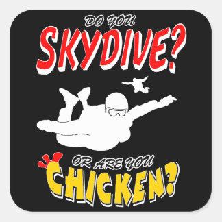 Skydive or Chicken? (wht) Square Sticker