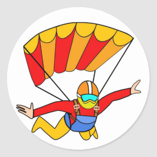 Skydive Red Yello Parachute Round Sticker