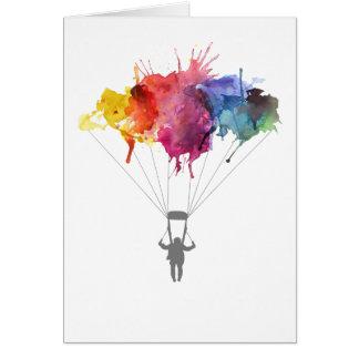 Skydiver, Parachute. Skydiving Sport. Parachuting Card