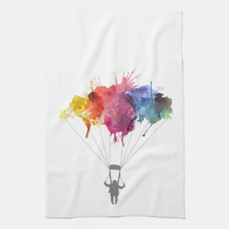 Skydiver, Parachute. Skydiving Sport. Parachuting Kitchen Towel