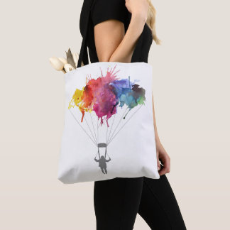 Skydiver, Parachute. Skydiving Sport. Parachuting Tote Bag