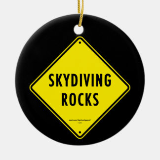 SKYDIVING ROCKS Road Sign Ceramic Ornament