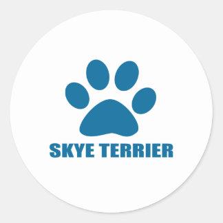 SKYE TERRIER DOG DESIGNS CLASSIC ROUND STICKER