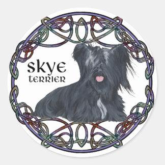 Skye Terrier in Celtic Knotwork Classic Round Sticker