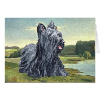 Skye Terrier in Pastoral Landscape Card