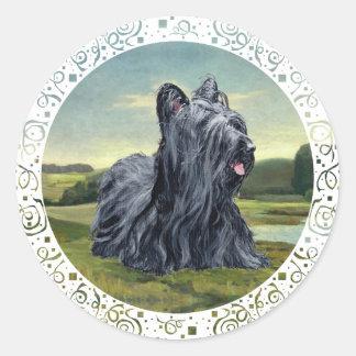 Skye Terrier in Pastoral Landscape Classic Round Sticker