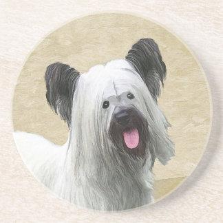 Skye Terrier Painting - Cute Original Dog Art Coaster