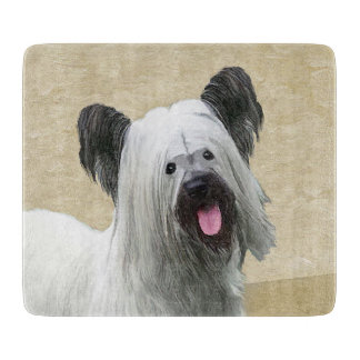 Skye Terrier Painting - Cute Original Dog Art Cutting Board