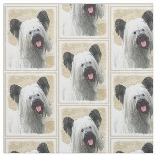 Skye Terrier Painting - Cute Original Dog Art Fabric