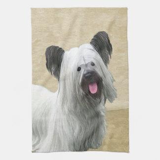Skye Terrier Painting - Cute Original Dog Art Kitchen Towel