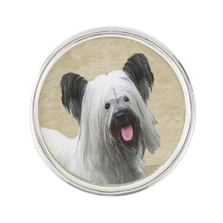 Skye Terrier Painting - Cute Original Dog Art Lapel Pin