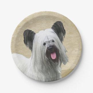 Skye Terrier Painting - Cute Original Dog Art Paper Plate