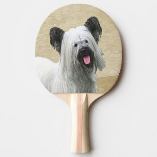 Skye Terrier Painting - Cute Original Dog Art Ping Pong Paddle