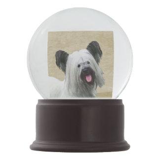 Skye Terrier Painting - Cute Original Dog Art Snow Globe