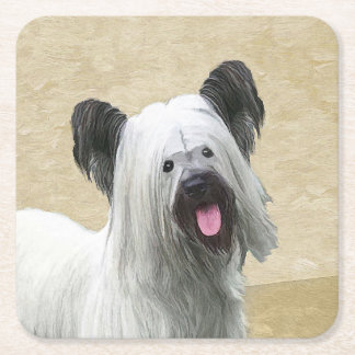 Skye Terrier Painting - Cute Original Dog Art Square Paper Coaster