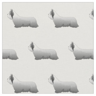 Skye Terrier Silhouette Tiled - Basic Fabric