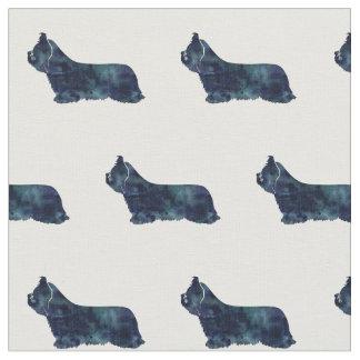 Skye Terrier Silhouette Tiled - Black Fabric