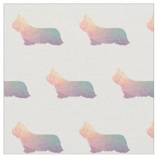 Skye Terrier Silhouette Tiled - Pastel Fabric